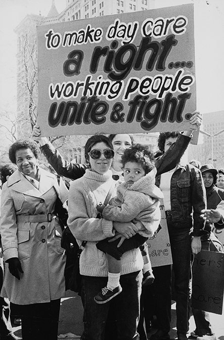 """International Women's Year March,"" March 12, 1977. With a campaign for legislation to protect pregnant workers gearing up in the spring of 1977, these women demand ""Full Rights and Compensation for Pregnant Workers"" at a New York City protest."