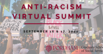 Anti-Racism Virtual Summit written over a picture of protesters for Black Lives Matter