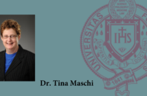 headshot of tina maschi on blue background with Fordham seal next to her