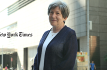 Shot of nancy wackstein with the new york times logo displayed to her left