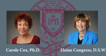 Dr. Carole Cox and Dr. Elaine Congress headshots on a blue backdrop with the Fordham seal behind them