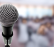 Microphone with blurred background