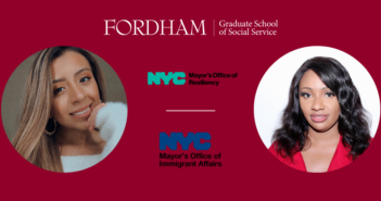 Jennifer Dutan, left; Akila Thomas, right; NYC department of resiliency and immigrant affairs logos in the middle