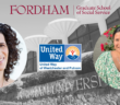 Holly Fink and Stefanie Nolli Gaspar with Fordham's Westchester Campus in the background