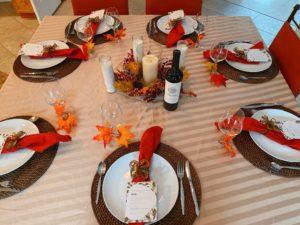 Table set elegantly for dinner