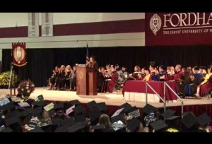 Byron making her commencement speech at graduation
