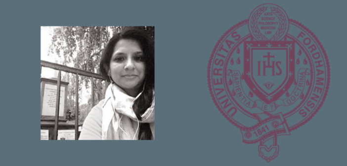 Headshot of Assistant Professor Sameena Azhar, Ph.D., on a blue background next to the Fordham seal
