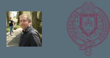 headshot of Jordan DeVylder, Ph.D., on blue background next to Fordham seal