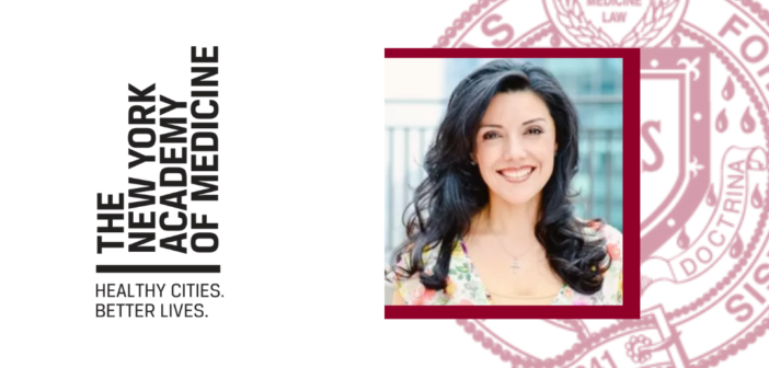 Headshot of Shenae Osborn over white background and red Fordham seal next to New York Academy of Medicine logo